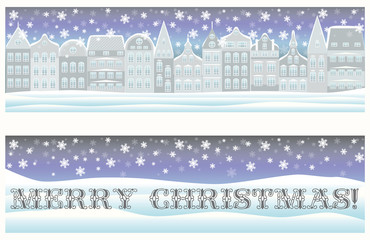 Happy Merry Christmas banners with winter city