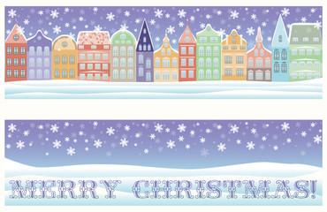 Merry Christmas winter city banner