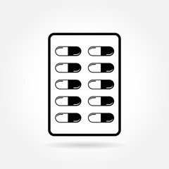 Capsule pill medicines in blister pack - medical vector icon