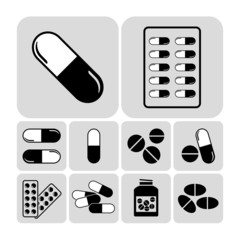 Medicines including tablets, pills & capsules - vector icon