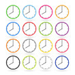 Clock icons in colorful set
