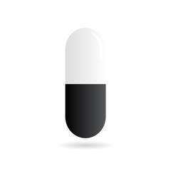 Medicine - pill or capsule vector icon on white background