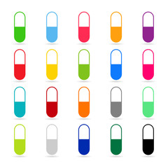 Medicines - pill or capsule vector icon set on white background