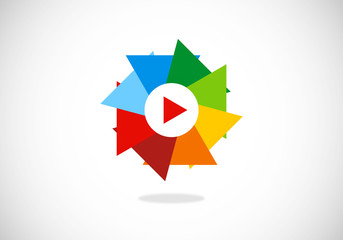 video play music circle triangle vector logo