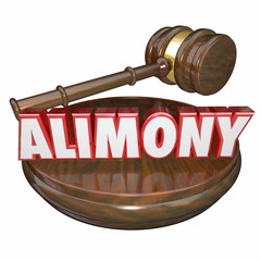 Alimony 3D Word Judge Gavel Legal Court Case Settlement