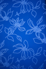 An exotic blue color  floral pattern weaved fabric