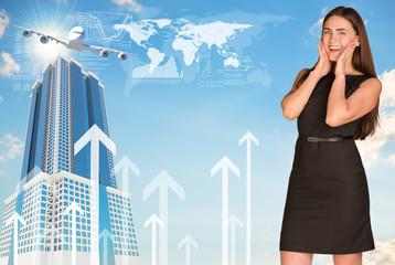 Joyful businesswoman in dress