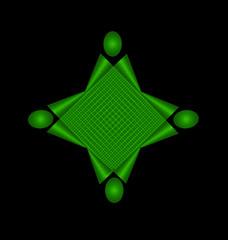Teamwork green abstract unity concept logo vector design