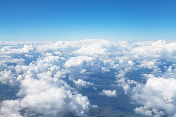 above view of white clouds in blue sky