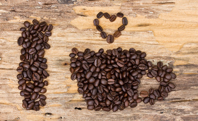 I love coffee made form coffee bean on wood background