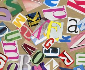 Magazine alphabet clippings