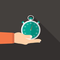 stopwatch in hand in flat design with green face