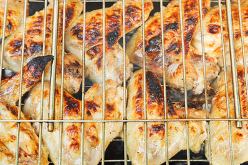 grilled chicken wings on grill