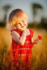 Blond girl in the field