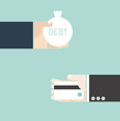 Business concept. Hand exchange debt and credit card.