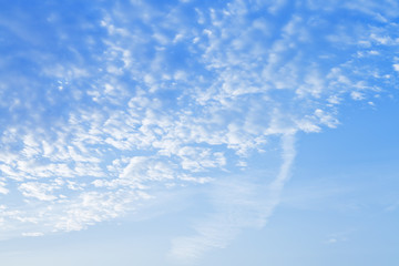 many small puffy white clouds in blue sunrise sky