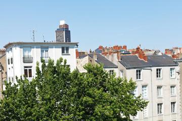 urban houses and Tour Bretagne in Nantes
