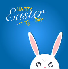 Happy easter day. Rabbit white on blue background with happy eas