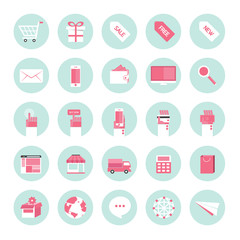 Flat design icons for business internet e-commerce collection se