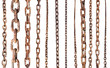 set of old rusty chains isolated on white - 68895128