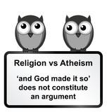 Monochrome religion verses atheism sign poster