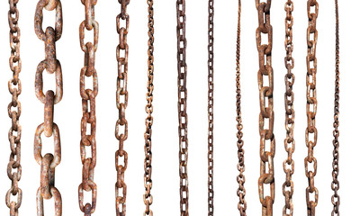 set of old rusty chains isolated on white