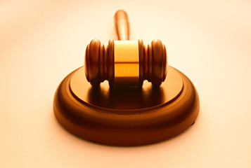 Wooden gavel used by a judge or auctioneer
