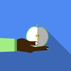 Hand holding aplle in flat design on background