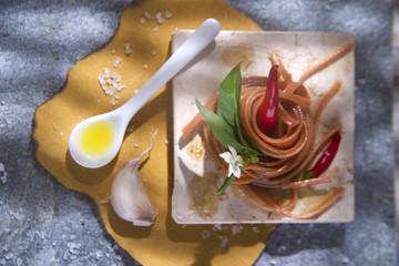 Spaghetti with garlic, oil and chili