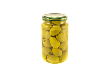Green olives  glass jar isolated on white