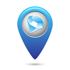 Map pointer with jewel icon