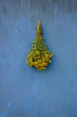 Bouquet bunch St John's wort hang on wooden wall