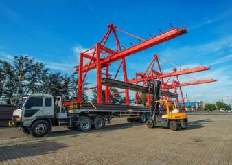 Forklift loader for warehouse works outdoors loading