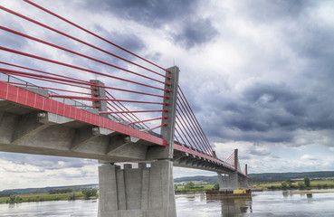 Cable-stayed bridge over the Vistula river in Kwidzyn - Poland