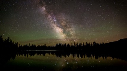 Time lapse Milky Way galaxy across lake