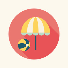 beach umbrella with ball flat icon with long shadow