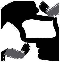 frame of hand-to-frame film