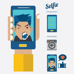 Selfie:Taking a self portrait with smart phone, Flat design