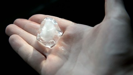 A piece of ice in hand.
