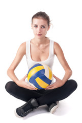 Young beautiful volleyball player