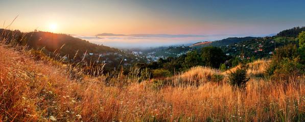 Slovakia city panorama at sunrise, Banska Stiavnica