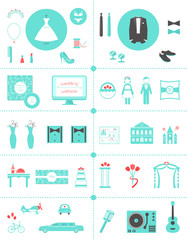 Wedding Planning Icons and Infographic Elements Set