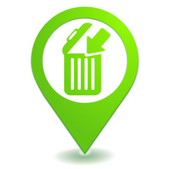 jeter à la corbeille sur symbole localisation vert