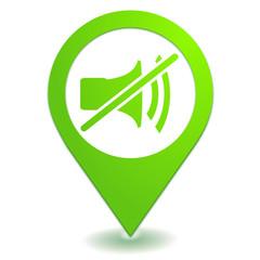 muet sur symbole localisation vert