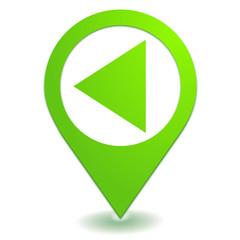retour sur symbole localisation vert