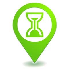 sablier sur symbole localisation vert