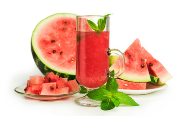 watermelon smoothie with mint and fresh fruit