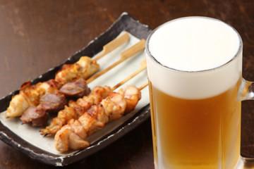 ビールと焼鳥