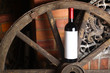 Red wine on wooden wheel
