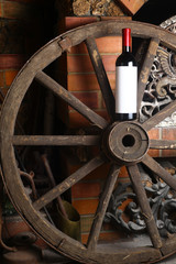 Red wine on wooden wheel